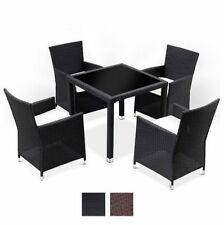 Garden Dining Set Rattan Glass Table And 4 Chairs Outdoor Patio Seater Furniture