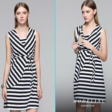Striped Dress Nursing Breastfeeding V-neck Sleeveless Cotton Trendy S/M/L/XL/2XL