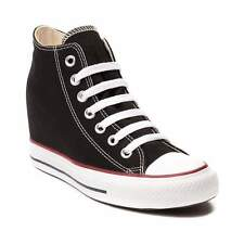 NEW Womens Converse Chuck Taylor Mid Wedge Sneaker Black Platform Shoes