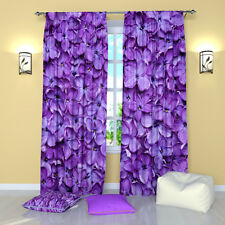 """Lilac Petals Floral Window Curtains Panel (Set of 2), Polyester, 84"""""""