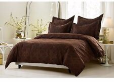King / CKing Full / Queen Brown Diamond Scroll Duvet Set 5 Piece Cover 4 Shams