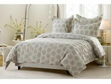 King/CKing Full/Queen Beige Hexagon Duvet Set 5 Piece Cover 4 Shams Reversible
