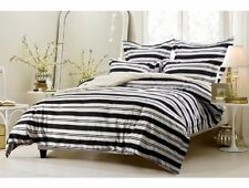 King / CKing Full / Queen Black White Stripe Duvet Set 5 Piece Cover 4 Shams