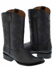 Men's Black Classic Smooth Leather Western Cowboy Boots Square Toe