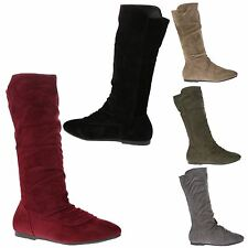 Stacy Womens Flats Low Heels Pull On Slouch Mid Calf Boots Ladies Shoes Size New