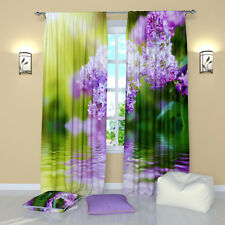 """Lilac Branch Floral Window Curtains Panel (Set of 2), Polyester, 84"""""""