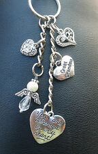 In Memory Of Special Niece Angel & Hearts Keyring / Bag Charm.Choose Colours