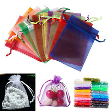 100pcs 9x12cm Organza Sheer Wedding Party Favour Gift Bags Candy Jewellery Pouch