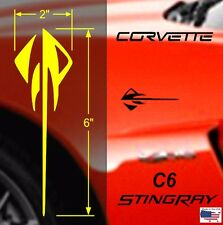 "STINGRAY Vinyl Decal Racing Stripes 2"" x 6"" 4pcs (Fits Chevy CORVETTE C6 & C7)"