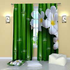"""Bamboo Green Floral Window Curtains Panel (Set of 2), Polyester, 84"""""""