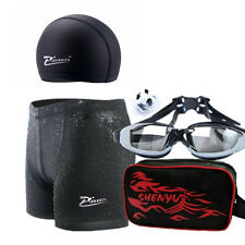 Mens Swimming Set Swimwear Trunks Boys Swim Goggles Caps Shorts Sharkskin Pants