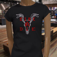 RIDE OR DIE BIKER SKULL BIKE COW MOTORCYCLE RIDER Womens Black T-Shirt