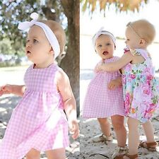 Summer Baby Girl Sleeveless Pink Color Plaid Checked Dress UN0058
