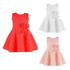Summer Lace Decorated Floral One Piece Party O-neckn Sleeveless Girl Dress