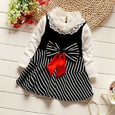 Baby Girl Cotton Bow Striped Summer Formal Party Lace Dress