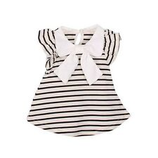 Baby Girl Summer Cotton Fabric O Neck Striped Dresses AJ0045