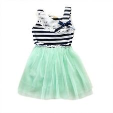 Summer Cotton Blend Sleeveless Lace Bow-knot Striped Dress For Baby Girl UZ0128