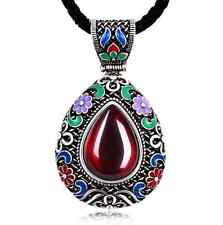 Water drop necklace natural stone enamel colorful chinese design Latest vintage