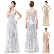 Sequined Long Formal Evening Maxi Dress Celebrity Pageant Party Prom Wedding