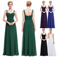 Women Long Chiffon Maxi Dress Sleeveles Bridesmaid Evening Formal Cocktail Gown