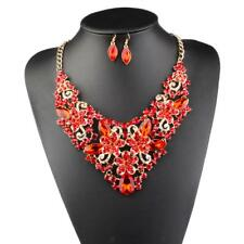 Exaggerate Rhinestone Necklace Earring Jewelry Set Bridal Wedding Party Ornament