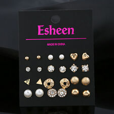 12Pairs!!! No Duplicated Pearl Crystal Stud Earring Set Women Girl Jewelry Charm