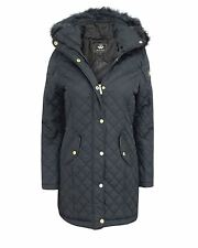 BRAVE SOUL LADIES WOMEN FAUX FUR HOODED QUILTED PADDED WINTER JACKET COAT gamble