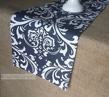 Navy Blue Table Runner Floral Damask Nautical Home Decor Dining Table Linens