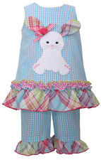 Easter Bunny Girls Short Set Aqua Gingham Check Bunny Applique Bonnie Jean NWT