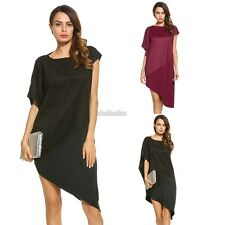 New Women Casual Boat Neck Short Sleeve Patchwork Asymmetry Dress EFFU01