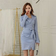 Women Blue Striped Plus Size Casual Slim Long Sleeve Mini Dress