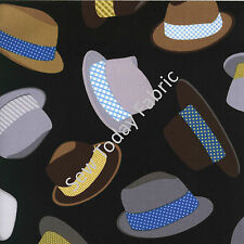 Fedoras Hat Toss - Timeless Treasures FUN-C1122-BLACK (sold by the 1/2 yard)