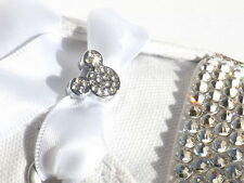 Crystal Mickey Mouse Shoe Charms & Pair of White Ribbon Laces 4 Sparkly Trainers