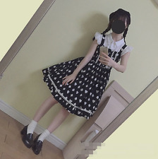 Lolita Kawaii Print Japanese Sweet Slim VINTAGE Mori Girl Cute Suspenders Dress