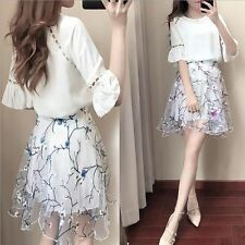 Korean Fashion Woman New Spring Summer Boat Collar Two Pieces Chiffon Mini Dress