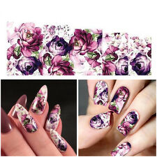 Nail Art Water Decals Stickers Transfers Purple Flowers Gel Polish Manicure 2Pcs