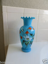 """ANTIQUE FRENCH RUFFLED RIM OPALINE BLUE Opalescent GLASS 10.25"""" VASE  1800's"""