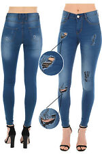 Ripped Womens Ladies Mid Waisted Blue Skinny Jeans Denim Jegging Destroy Look