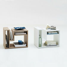 End Table with 3 Storage Compartments & Magazine Holder Contemporary Side Table