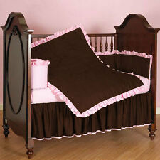 Ruffle Reversible Baby Bedding Set Crib/Cradle/Toddler Fitted Skirt Quilt Bumper