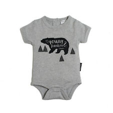 Young & Fearless Grey Marle Organic Onesie 000, 00, 0, 1 Organic Baby
