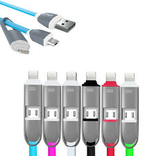 2in1 Micro USB Sync Data Charging Cable Adapter Connector Cord F iPhone Samsung