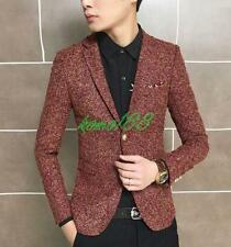 Korean Stylish Mens One Button Casual suit Coats Stage Show slim fit Jackets