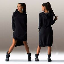 Spring Long Sleeve Hooded  Plus Szie Black Gray Green Color Casual Women Dress A