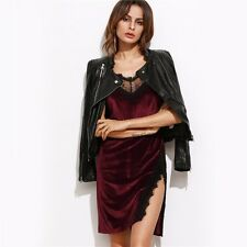 Bodycon Dress Club Wear Mini Dress Color Block Burgundy Lace Trim Slit Velvet