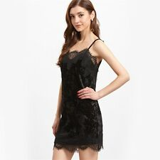 Women Sexy Summer Clothes Slip Bodycon Dress Black Lace Trim Velvet Cami Dress