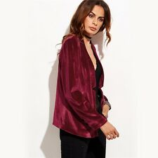 Women Formal Velvet Burgundy One Button Notched Collarless Velvet Blazer and Jac