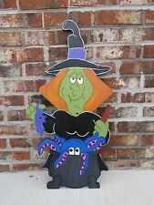 Halloween Witch Wood Sign, Witches Cauldron Broom Halloween Wood Yard Art Lawn