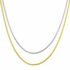 Stainless Steel Box Necklace 24 Inch Chain In Gold Finish White Finish 2mm New