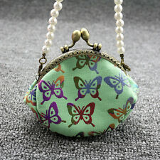 Butterfly Purse Mini Pocket Wallet Card Coin Handbag with Faux Pearl Chain Funny